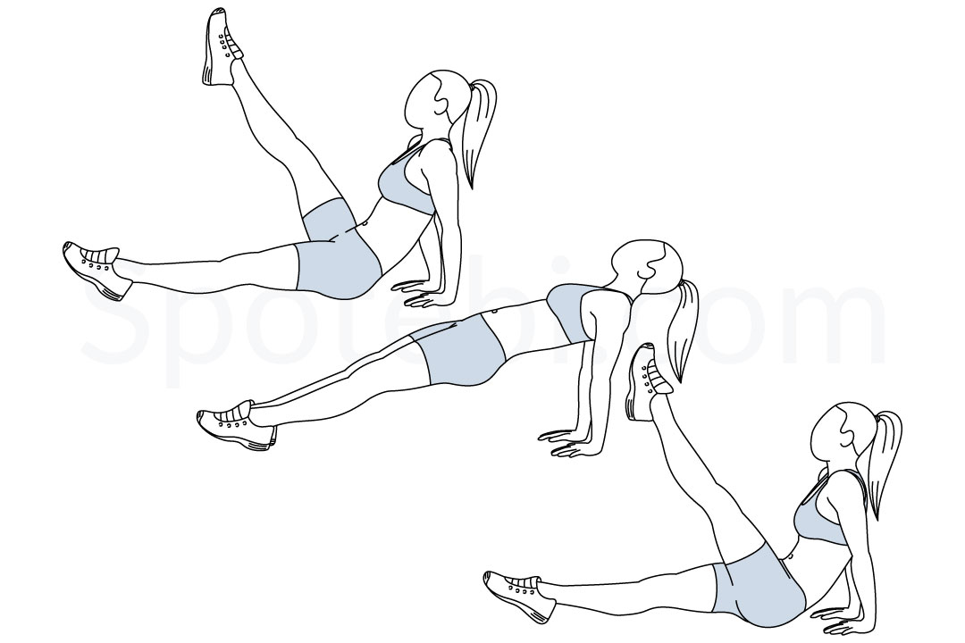 Reverse plank leg raises exercise guide with instructions, demonstration, calories burned and muscles worked. Learn proper form, discover all health benefits and choose a workout. https://www.spotebi.com/exercise-guide/reverse-plank-leg-raises/