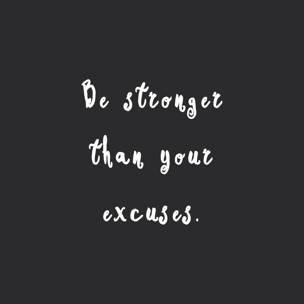 Be stronger than your excuses! Browse our collection of motivational training and healthy eating quotes and get instant fitness and wellness inspiration. Stay focused and get fit, healthy and happy! https://www.spotebi.com/workout-motivation/be-stronger-than-your-excuses/