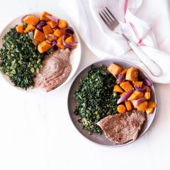 Grilled Steak & Roasted Veggies with Sautéed Garlic Kale Recipe / @spotebi
