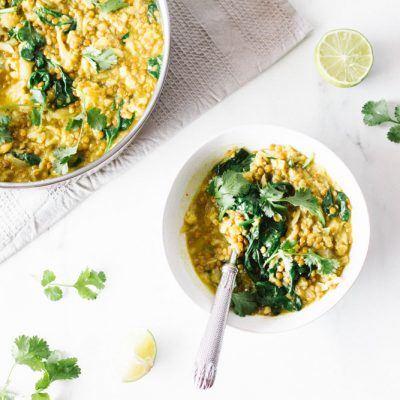 Cauliflower and Lentil Dal with Easy Curry Paste Recipe / @spotebi
