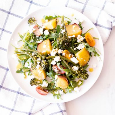 Sweet Potato Salad with Broccolini, Arugula & Feta Cheese Recipe / @spotebi