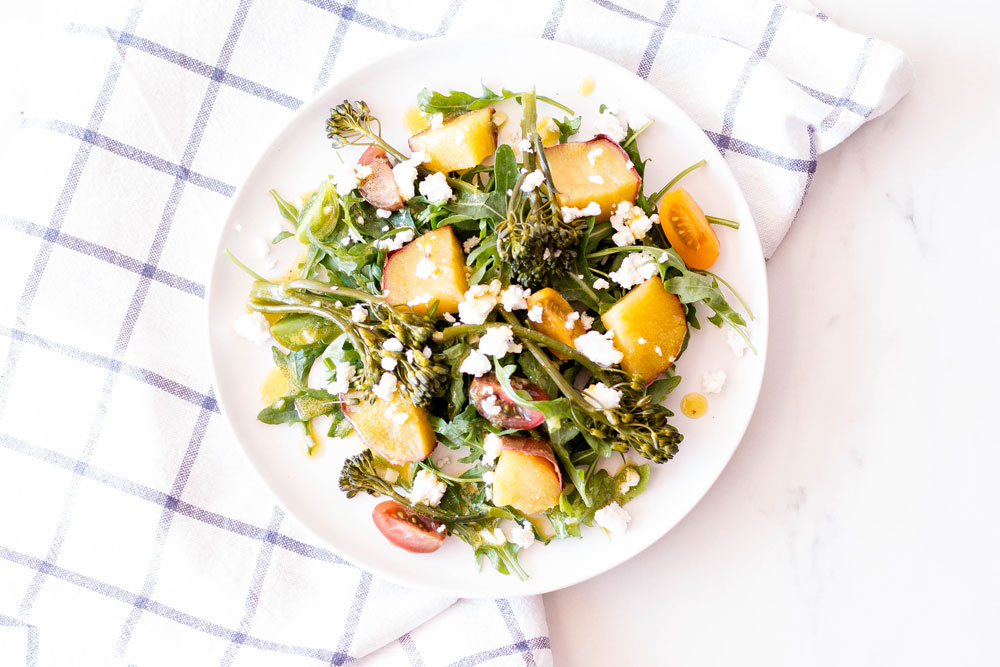 This 5-ingredient sweet potato salad with broccolini, arugula & feta cheese is deliciously filling, easy to make and you're going to love it! Sweet potatoes are highly nutritious and are rich in vitamins, minerals, antioxidants, and fiber. They're sweet, starchy, promote the growth of good gut bacteria, and contribute to a healthy gut. https://www.spotebi.com/recipes/sweet-potato-salad-broccolini-arugula-feta-cheese/