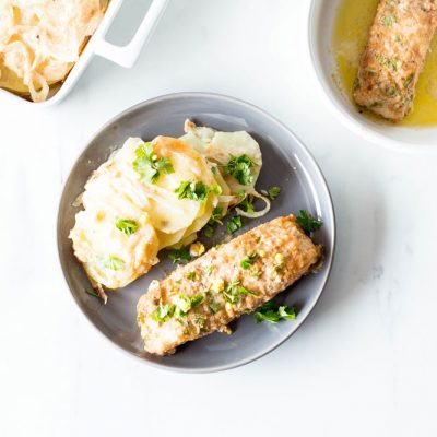 Lemon-Parsley Baked Fish With Scalloped Potatoes Recipe / @spotebi