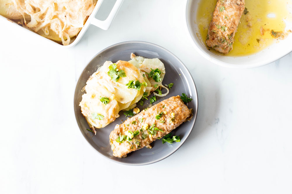 The Mediterranean flavors in this Lemon-Parsley Baked Fish With Scalloped Potatoes recipe are warming and light, making it a lovely weekend or weekday meal. https://www.spotebi.com/recipes/lemon-parsley-baked-fish-scalloped-potatoes/