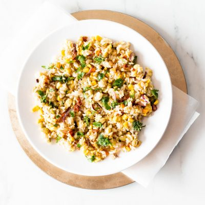 Fried Leftover Rice with Edamame & Veggies Recipe / @spotebi