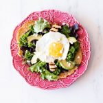 Oat Pancakes with Green Salad, Fried Halloumi, and Egg Recipe / @spotebi