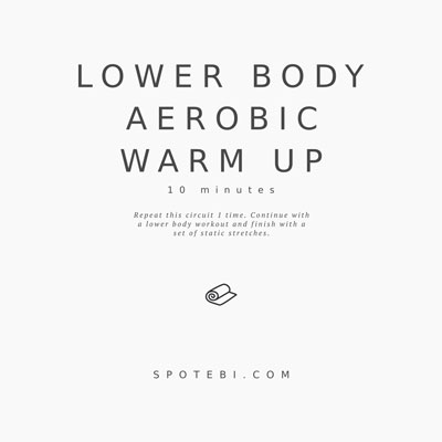 Get ready for your lower body workout with this set of warm up exercises. An at home routine with instructions, calories burned, music playlist and timer. https://www.spotebi.com/workout-routines/at-home-no-equipment-lower-body-warm-up-exercises/