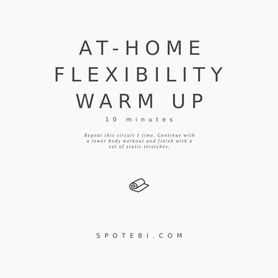To prevent injury, improve exercise form and make your workouts more effective, it's important that you warm up properly before exercising. Try this set of dynamic warm up exercises next time you want to prepare your muscles, tendons and joints for additional strength training. https://www.spotebi.com/workout-routines/lower-body-dynamic-warm-up-exercises/