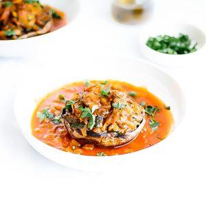 Portobello Mushrooms Stuffed with Courgette & Eggplant Recipe / @spotebi