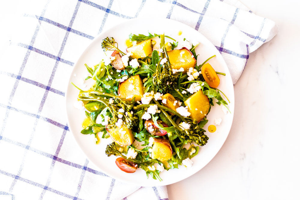 This 5-ingredient sweet potato salad with broccolini, arugula & feta cheese is deliciously filling, easy to make and you're going to love it! https://www.spotebi.com/recipes/sweet-potato-salad-broccolini-arugula-feta-cheese/