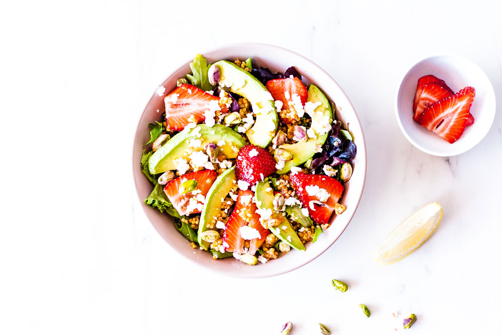 Top off this Strawberry, Avocado & Feta Summer Salad with your favorite salad dressing or with our honey mustard vinaigrette, a classic recipe that everyone enjoys and that brings out the best flavors in your salads. https://www.spotebi.com/recipes/strawberry-avocado-feta-summer-salad/