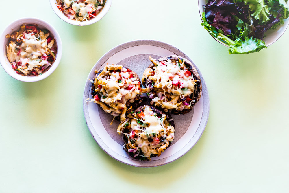 This Chicken Cheddar Stuffed Portobello Mushrooms recipe is very low in carbs and wheat-free, making it perfect for keto and gluten-free diets! https://www.spotebi.com/recipes/chicken-cheddar-stuffed-portobello-mushrooms/