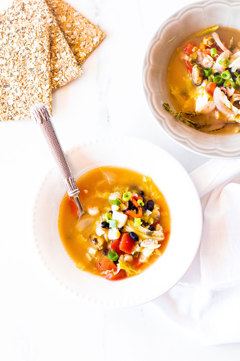 Cozy up this autumn with this rustic vegetable & seafood soup. A hearty and nourishing soup recipe that is quick to impress and incredibly easy to make! https://www.spotebi.com/recipes/rustic-vegetable-seafood-soup-recipe/